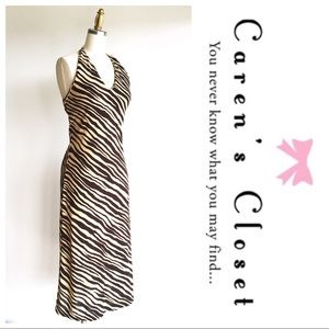 Dresses & Skirts - Ralph Lauren Brown & Tan Jersey Zebra Halter Dress